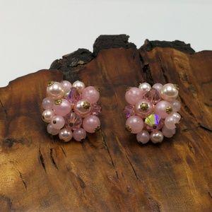 Vintage antique powder pink iridescent pearls